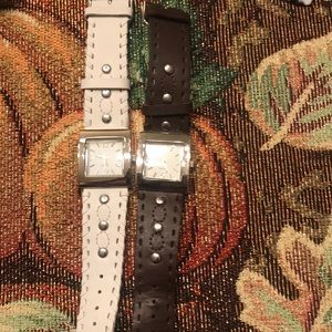 Leather watch Quartz brown and White with Silver